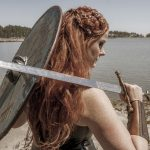 shield maiden, Viking warrior, Viking woman warrior, Shield Maiden play, play, theatre, strong women, historical women, viking warrior, viking warrior woman, black and white photography, stage still, Melanie Teichroeb
